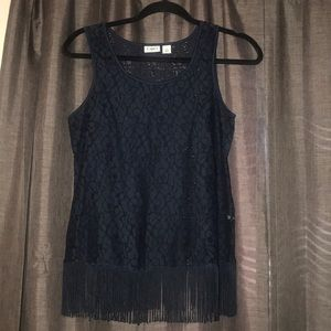 cato floral see through tank with tassels